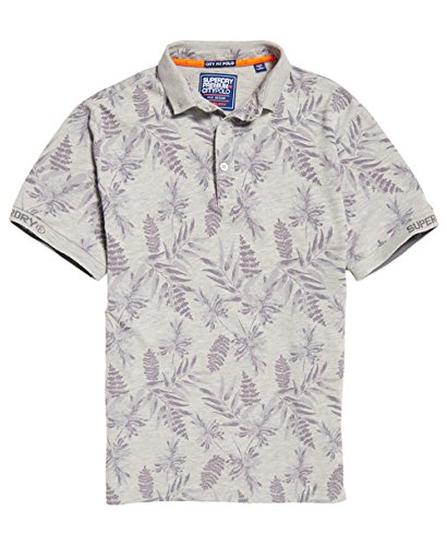 Superdry Men's City Short Sleeve All Over Print Jersey Polo Shirt (Large, Silver Heather MARL) -