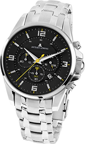 Jacques Lemans Women's Sport Liverpool 39mm Steel Bracelet & Case Quartz Black Dial Analog Watch 1-1857F