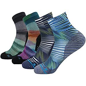 Wild Funky Socks, HUSO Men's Women's Custom Elite Crazy Stripe Printed Athletic Dri Fit Quick Wicking Crew Ankle Running Socks 4 Pairs (Multicolor, L/XL)