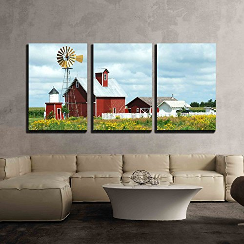 wall26 - 3 Piece Canvas Wall Art - Beautiful Scenery of Windmill, Barn, Sheds and Fence on a Cloudy Day - Modern Home Decor Stretched and Framed Ready to Hang - 24