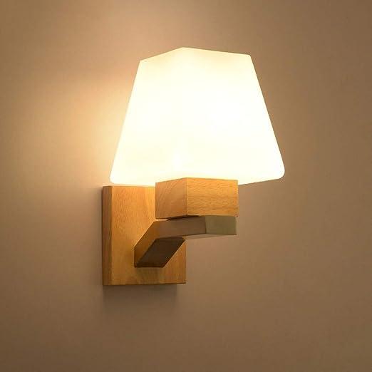 Madera Luces de pared E27 Lámpara de noche Moderno Creativo lámpara de pared Luz para leer Vaso Pantalla de lámpara para Sala Habitación Comedor Hotel Escalera Decorativo Iluminación de pared: Amazon.es: Iluminación