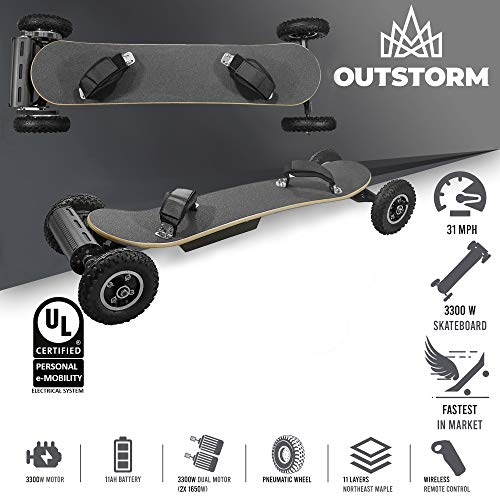 OUTSTORM 31MPH Off Road Electric Skateboard - 3300w Motorized Mountain Longboard with Dual Motors - 11 Layers, All-Terrain, 4 Wheels, Remote Controlled High Speed Board