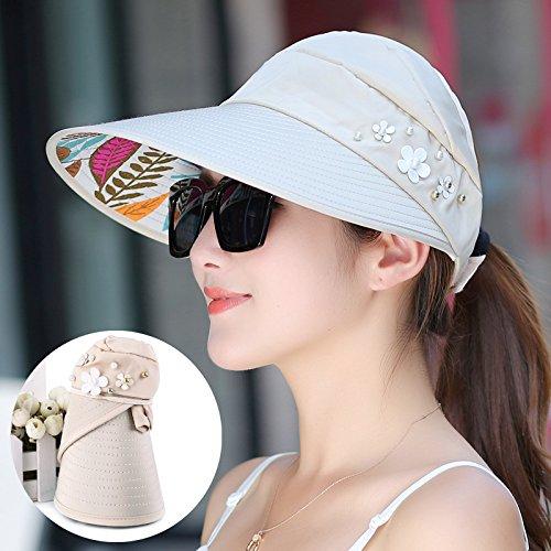 Beige  pearls Women's Adjustable Beach Floppy Sun Hat