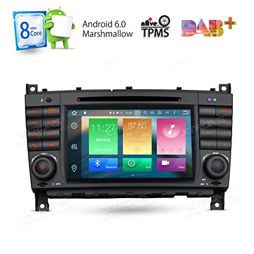 XTRONS Android 6.0 Octa-Core 64Bit 7 Inch Capacitive Touch Screen Car Stereo Radio DVD Player GPS CANbus Screen Mirroring Function OBD2 Tire Pressure Monitoring for Mercedes Benz W203 W209 by XTRONS
