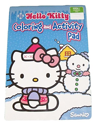 Hello Kitty Coloring & Activity Pad ~ Christmas Edition (Kitty with Snowman on Blue; 2014; 5.25