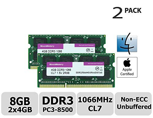 (MouraMemory RAM 2X4G DDR3/1066MOURA4DSF/4G Hynix IC 8GB Kit (2x4GB) DDR3 PC3-8500 1066MHz Memory Upgrade for iMac 21.5 inch/27 inch/20 inch/24 inch, MacBook Pro 13 inch/ 15 inch/ 17 inch, Mac mi 2x4GB)