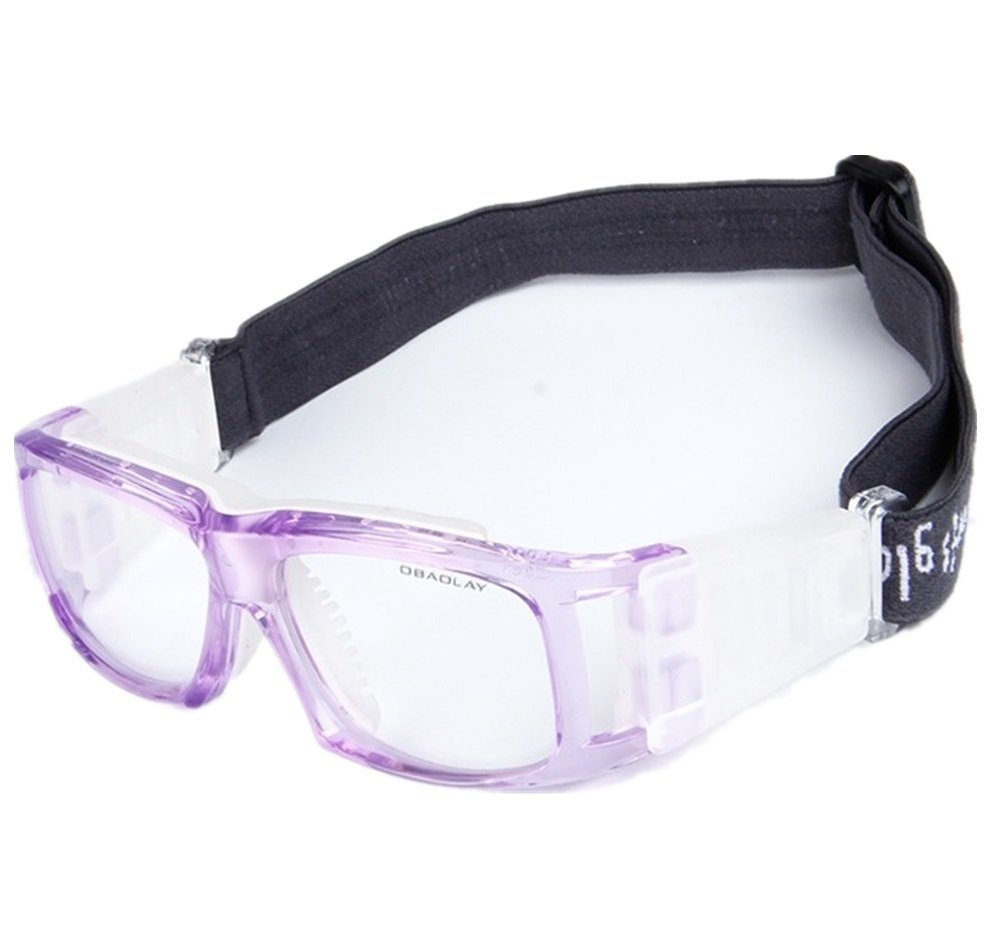 Kagogo Sports Goggles Protective Basketball Glasses Safety Goggles for Adults with Adjustable Strap for Basketball Football Volleyball Hockey Rugby (Transparent Purple001) by Kagogo (Image #1)