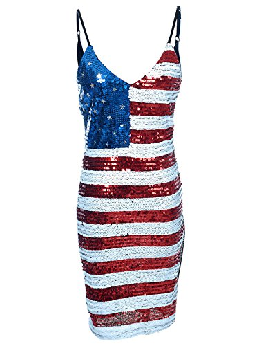 Anna-Kaci Spaghetti Strap Sleeveless USA American Flag Patriotic Sequin Dress, Multicolored, Small