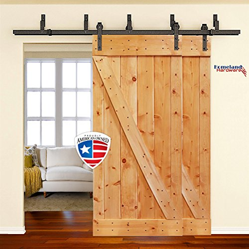 Homeland Hardware Heavy Duty Bypass Sliding Barn Door Hardware Kit 6.6 Foot Powder Coated Frosted Black