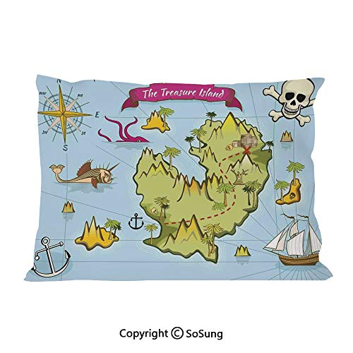 SoSung Island Map Bed Pillow Case/Shams Set of 2,Treasure Island Skull Nautical Design Pirate Theme Fictional Fish Kids Theme King Size Without Insert (2 Pack Pillowcase 36