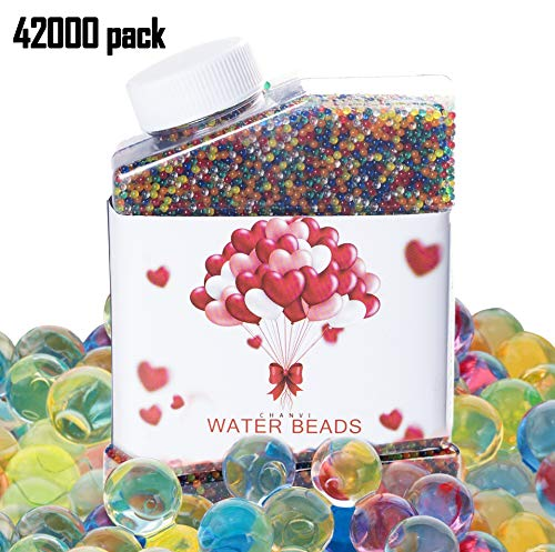 (Water Beads, 9 OZ pack (42,000 Beads), Crystal Gel Pearls, Rainbow Mix for Furniture Decorative Vase)
