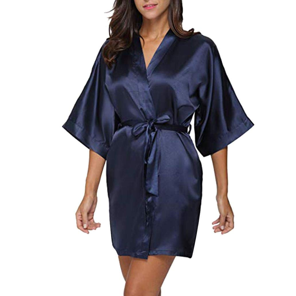 NREALY PJ Women's Casual Solid 1/2 Sleeved V-Neck Bandage Satin Sleepwear Mini Dress NREALY-Tank-0814