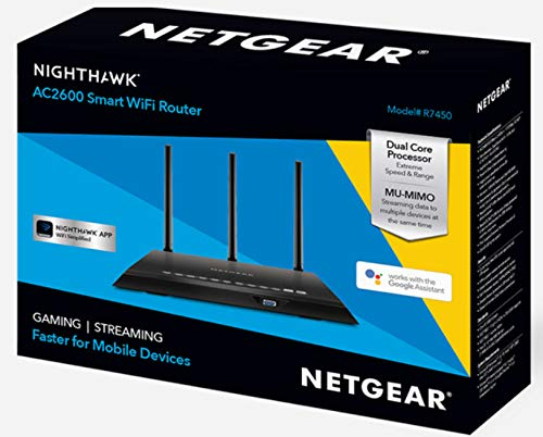 NETGEAR Nighthawk AC2600 Smart WiFi Router (R7450) 2 AC2600 WiFi-Up to 2.6Gbps (800Mbps 2.4GHz + 1733Mbps 5GHz) MU-MIMO for simultaneous streaming of data to multiple devices Advanced QoS for lag-free gaming and smoother streaming