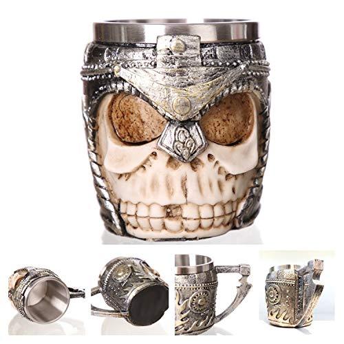 Glad You Came Retro Dragon Resin Stainless Steel Beer Mug Skull Knight Tankard Halloween Coffee Cup Creative Viking Tea Mug Pub Bar Decoration,Helmet Knight]()