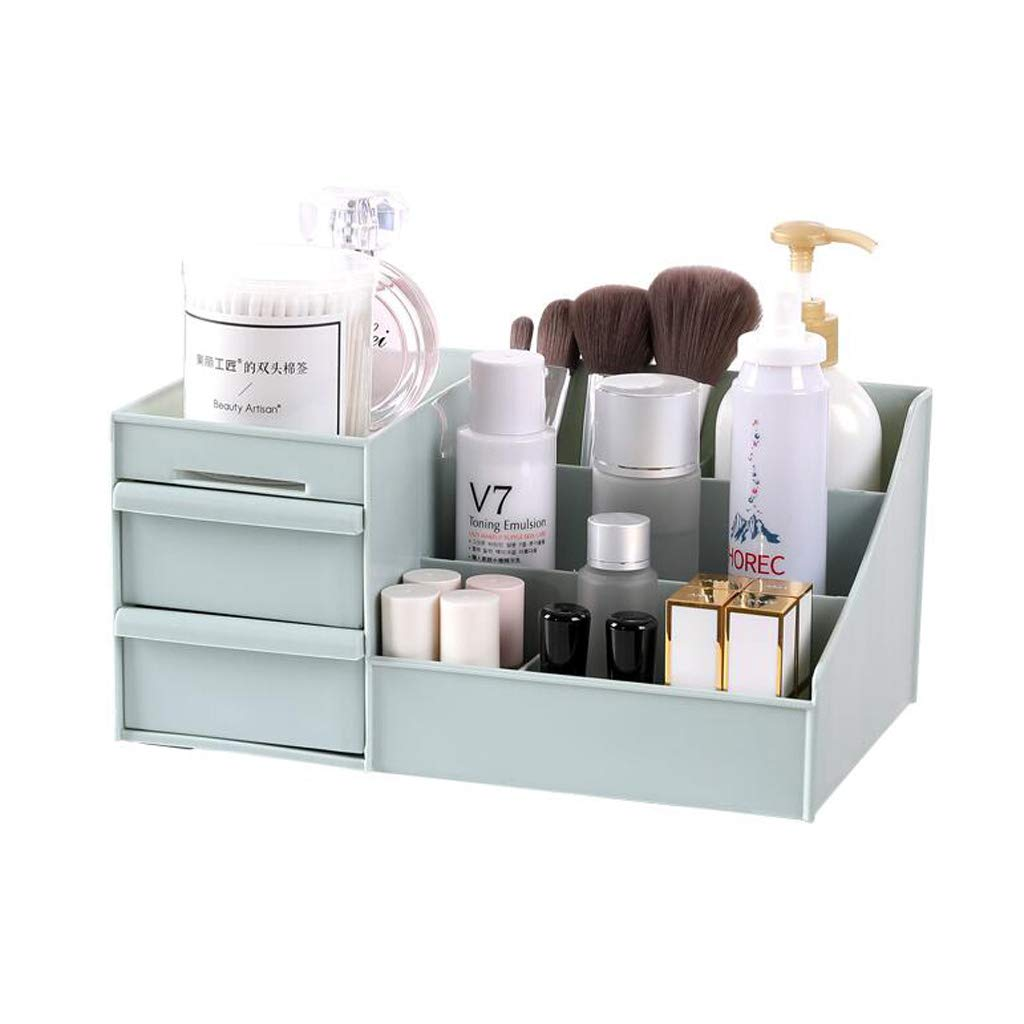 Zxwzzz Cosmetic Storage Box Drawer Desktop Plastic Makeup Dressing Table Skin Care Frame House Organizer Container Mobile Phone Sundries (Color : Blue)