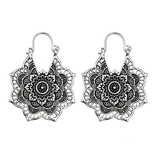 - Women Earrings LODDD Antique silver Gypsy Indian Tribal Ethnic Hoop Dangle Mandala Earrings Boho Openwork Flower Alloy Earrings