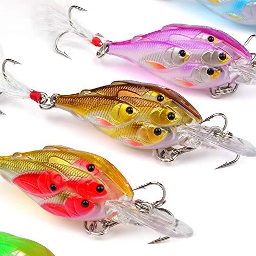 SHUDAGE Outdoor Fishing ღ5PCS Live Target Yearling Fishing Lures Jerkbait Bass Hooks Crankbait Bait Ball