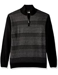 Men's Soft Acrylic Birdseye Stripe 1/4 Zip Sweater