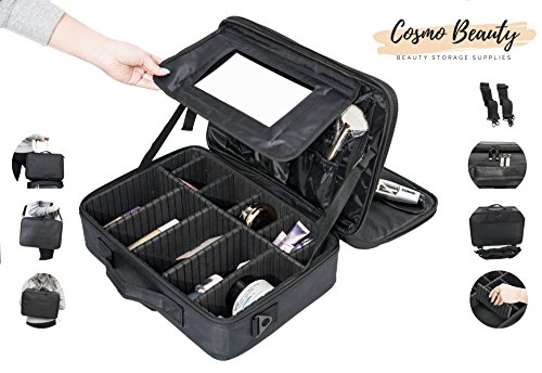 (Cosmo Beauty Travel Makeup Case - Large Professional Artist 3 Layers Cosmetic Case 15.8