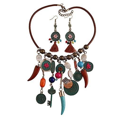 TINYUNICORN Handmade Reconstructed Coral and Reconstructed Turquoise Stone Waterfall Bib Necklace (Bib Necklace Waterfall)
