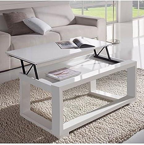 Concept Table Basse Relevable Plateau Blanc Et Cadre Blanc
