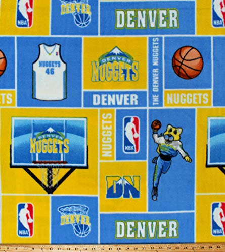 - Fleece Denver Nuggets Squares NBA Pro Basketball Sports Team Fleece Fabric Print by The Yard (NUGG-012)
