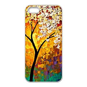 Abstract colorful tree oil painting Phone Case for iPhone 5S(TPU)