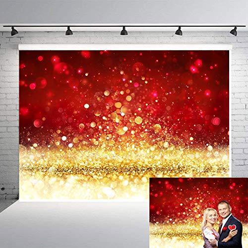 Valentine's Day Photography Backdrops Glitter Gold Red Bokeh Background 7x5ft Shining Blur Spot Vinyl Backdrop Children Kids Adult Portrait Digital Photo Studio Prop Holiday Party Room Decor -