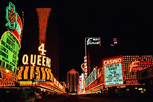 Vintage Neon Signs of Fremont Street Las Vegas Nevada Photo Art Print Poster 36x24 inch