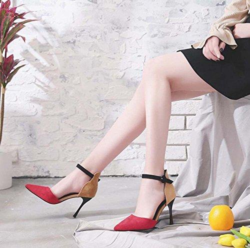 Alto Beige Talla y Sandalias Estrecha Mujer Zapatos Zapatos de y Rojo 34 nuevos Tacón Punta Hebilla únicos Verano Primavera Rojo 39 para Negro 8wHqqC