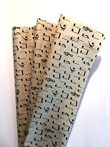 Tissue Paper for Gift Wrapping with Design (Dark Ivory Music Notes), 24 Large Sheets (20x30) by Rustic Pearl Collection