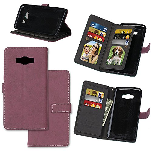 XYX Galaxy J9 Wallet Case,[Rose Vintage Scrub Series][Kickstand][9 Card Holder] PU Leather Flip Folio Wallet Case for Samsung Galaxy J9 ()