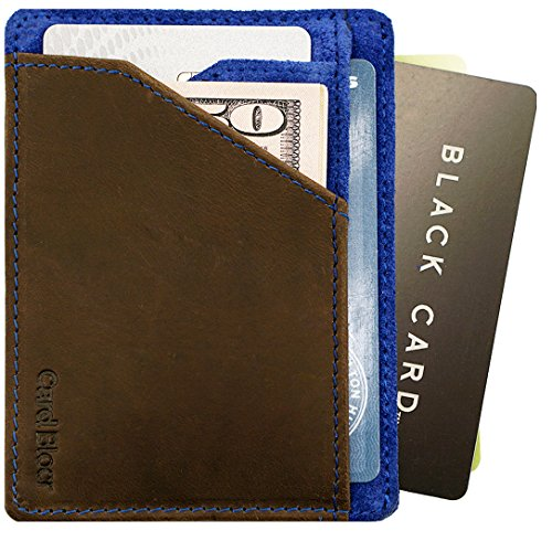 Card Blocr Minimalist Wallet Slim RFID Blocking Credit Card Wallet (Brown Leather & Blue Suede)