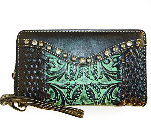 trinity-ranch-tooled-leather-wristlet-wallet-black-turquoise