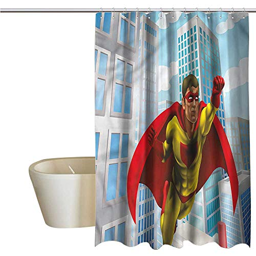 Denruny Shower Curtains Multicolor Superhero,Masked Hero Flying City,W55 x L84,Shower Curtain for Women ()