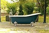 "67"" Antique Inspired Hague Blue Cast Iron Porcelain Clawfoot Bathtub Flat Rim Slipper Bathtub Package Chrome Feet"