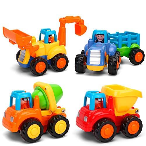 - Kemuse Toddler Baby Toy Push And Go Friction Powered Car Toys Set for Children Boys Girls Kids Gift- Tractor, Bulldozer, Mixer Truck And Dumper(Set of 4)
