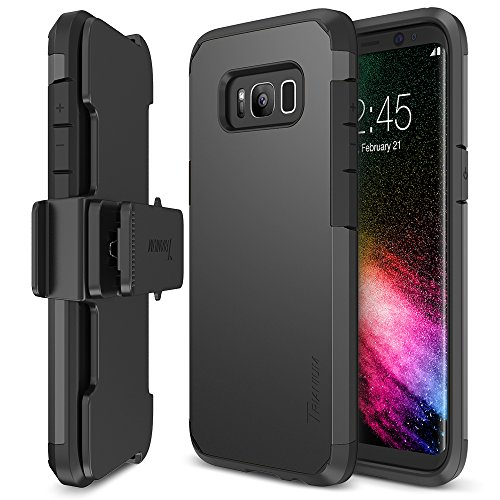 Galaxy S8 Case, Trianium [Duranium Series] Samsung Galaxy S8 Holster Belt Clip Heavy Duty Premium Protective Kickstand Extreme Protection Shock Absorption Cover 2017 – Gunmetal