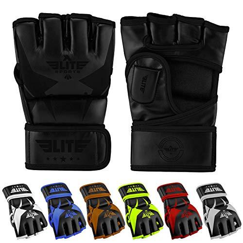 - Elite Sports Pro Style MMA Gloves (Black/Black, Medium)