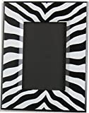 Black and White Zebra Print Picture Frame / 9.25in by 7.25in Desk Top Wood Photo Frame that fits a 4 by 6 Photo