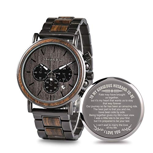 Engraved Personalized Wooden Watch for Boyfriend My Man Fiancé Husband Customized Wooden Watches for Men Birthday Gifts (B-for-Husband)