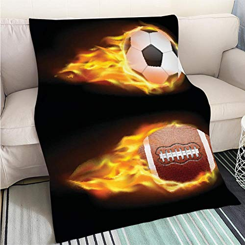 BEICICI Home Digital Printing Thicken Blanket Vector Set of Sports Burning Balls Balls for Soccer and American Football on fire in a Realistic Style Sofa Bed or Bed 3D Printing Cool Quilt