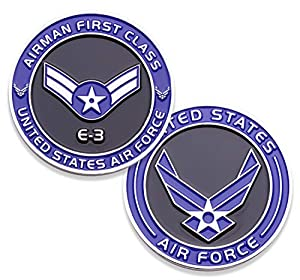 Air Force Airman First Class E3 Challenge Coin! United States Air Force Airman First Class Rank Military Coin. E-3 USAF Challenge Coin! Designed by Military Veterans - Officially Licensed Product! from Coins For Anything Inc