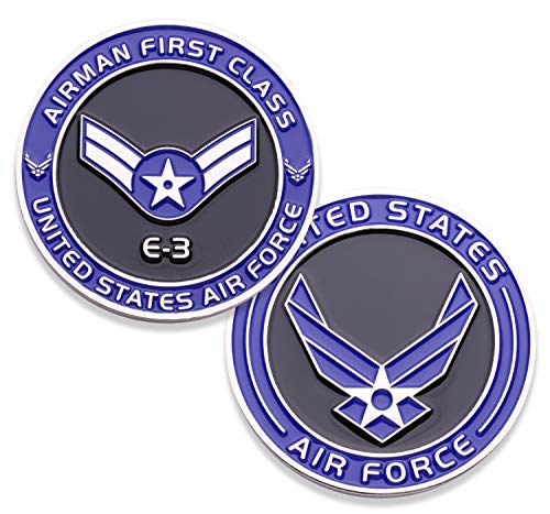 Air Force Airman First Class E3 Challenge Coin! United States Air Force Airman First Class Rank Military Coin. E-3 USAF Challenge Coin! Designed by Military Veterans - Officially Licensed Product!