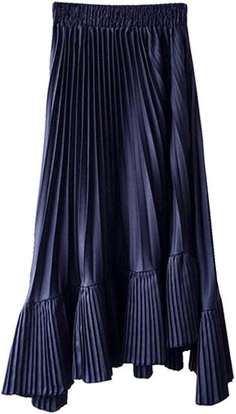 HEHEAB Falda,Azul Oscuro con Plisado Asimétrico Chiffon Falda ...