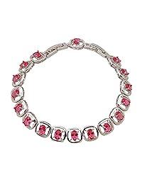 Bracelets for Lady Bracelets Bangles Oval Ruby Jewelry Red Topaz Silver 20cm 7.87inch B384