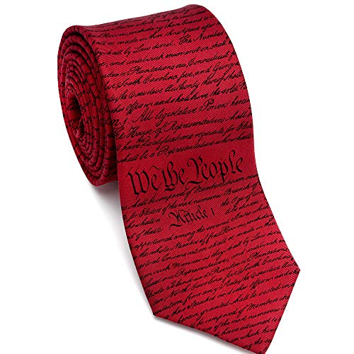 (Josh Bach Mens Constitution of United States of America Silk Necktie Red/Black, Made in USA)