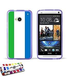 Carcasa Flexible Ultra-Slim HTC ONE / M7 de exclusivo motivo [Bandera Sierra Leone ] [Violeta] de MUZZANO  + ESTILETE y PAÑO MUZZANO REGALADOS - La Protección Antigolpes ULTIMA, ELEGANTE Y DURADERA para su HTC ONE / M7