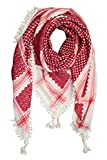 Hirbawi Kufiya Original Men's Royal Lace Arab Scarf One Size Dark Red on White