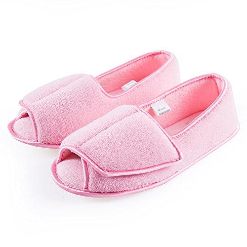 - Git-up Women Diabetic Slippers/W Arthritis Edema Adjustable Closure Memory Foam House Shoes Open Toe 8#,Pink